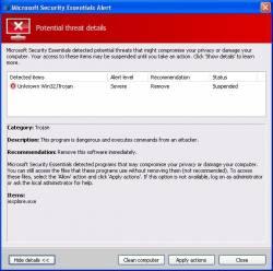 Interface de la fausse alerte de Microsoft Security Essentials