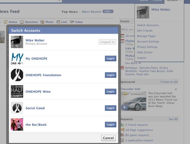 Interface de changement d'utilisateur sous Facebook