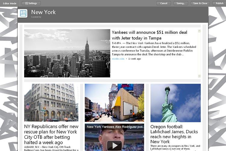 """Exemple de création réalisée sous Microsoft Montage, à partir du mot-clé """"New York"""""""