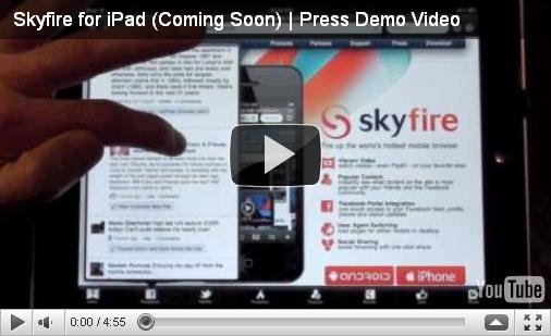 Vidéo de démonstration de l'application Skyfire sur iPad