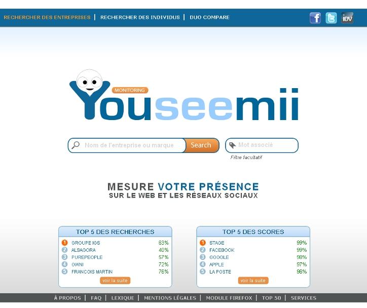 YouSeeMii, outil de suivi d'E-reputation et de veille concurrentielle