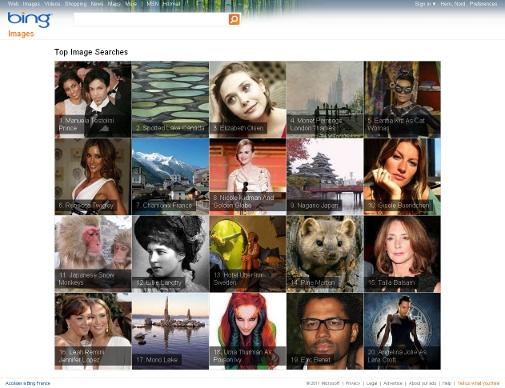 Nouvelle interface pour la recherche d'images dans le moteur de recherche de Microsoft, Bing