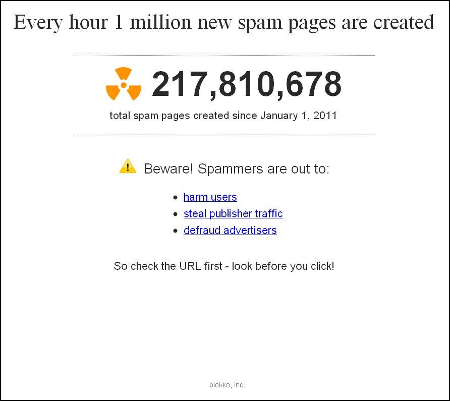 Spam Clock de Blekko affiche le nombre de pages de spam créé depuis le 1er janvier 2011