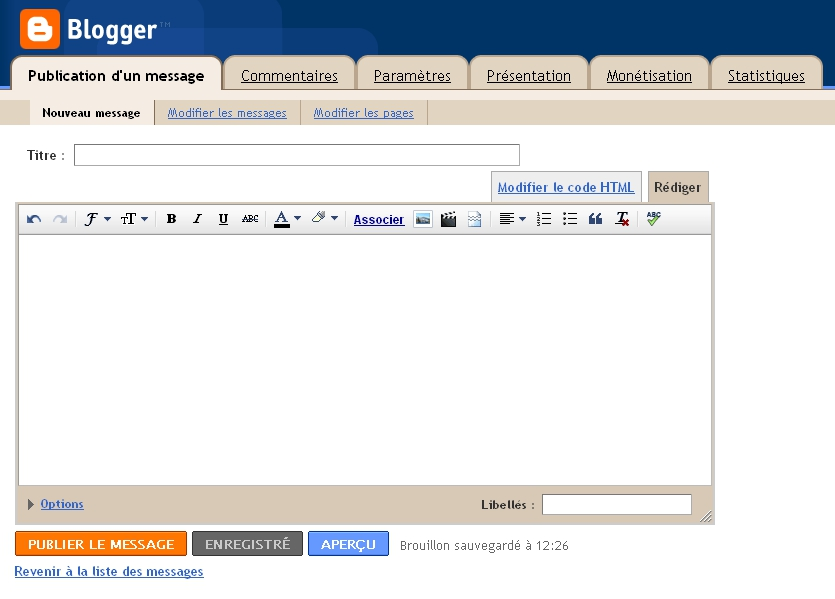 Interface du nouvel éditeur de Blogger