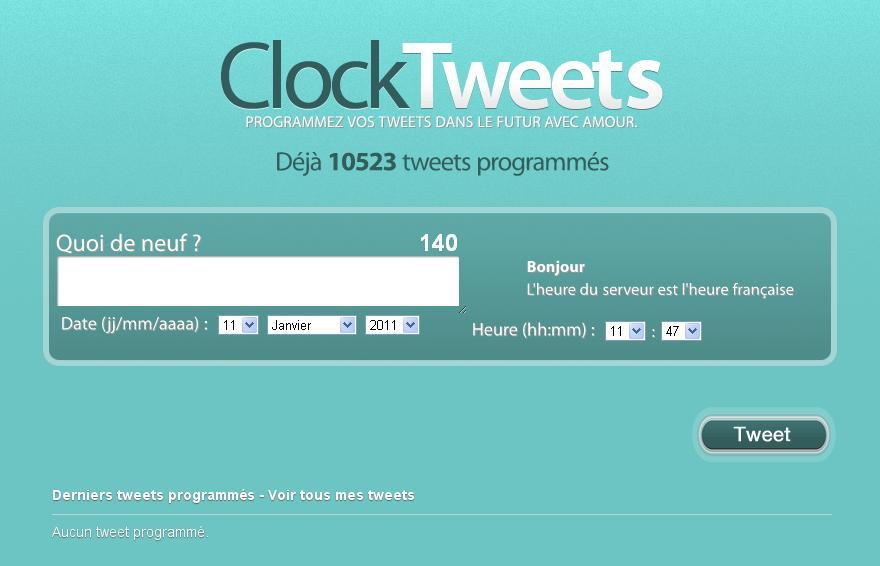 ClockTweets, l'application Web pour Twitter, permet de programmer l'envoi de tweets