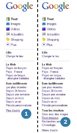 """Sélectionner l'outil """"roue magique"""" dans le menu latéral gauche du moteur de recherche Google"""