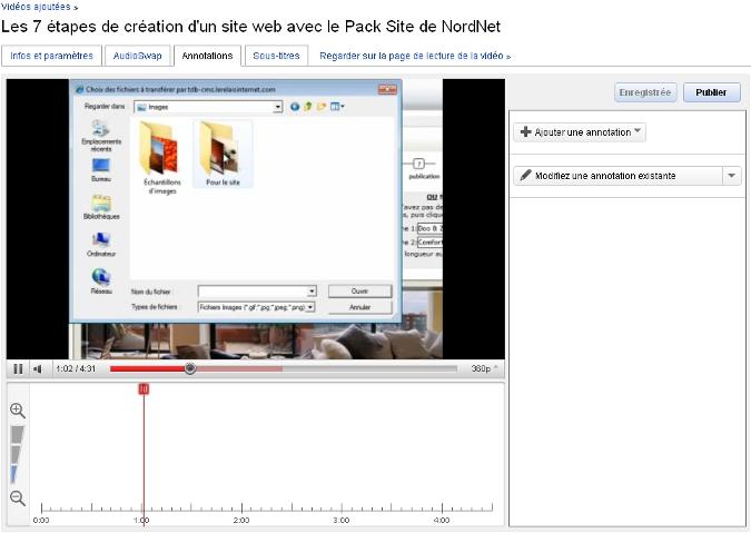 L'interface d'ajout d'annotations de YouTube