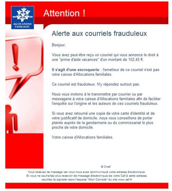 Alerte E Mail Frauduleux De La Caf