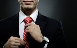 portrait  the  beautiful  businessman  in black costume tie one's necktie