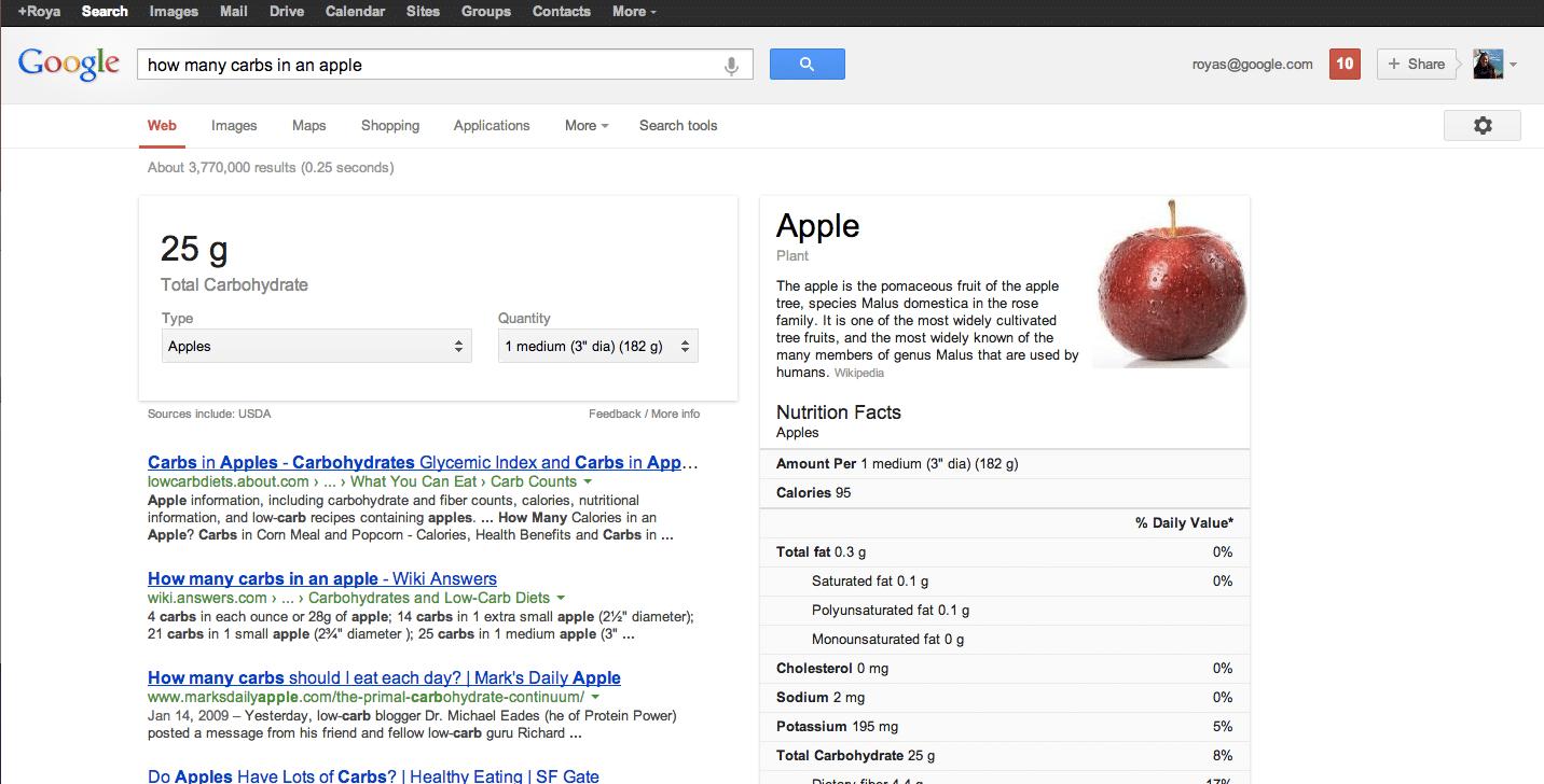 google aliments valeurs nutritives