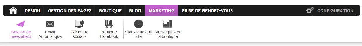 pack site onglet marketing