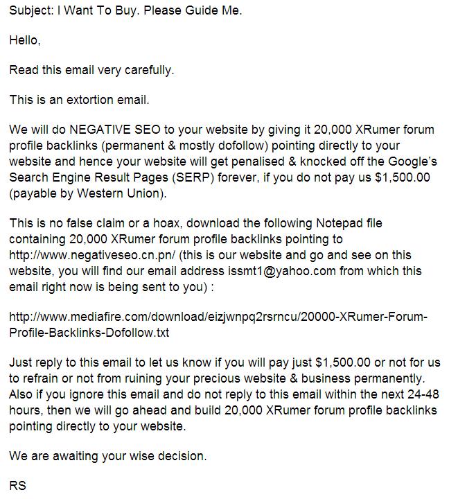 email negative seo
