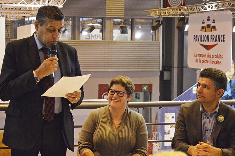 Xavier Beulin, Président de la FNSEA, et Isabelle Lecoq, exploitante agricole.