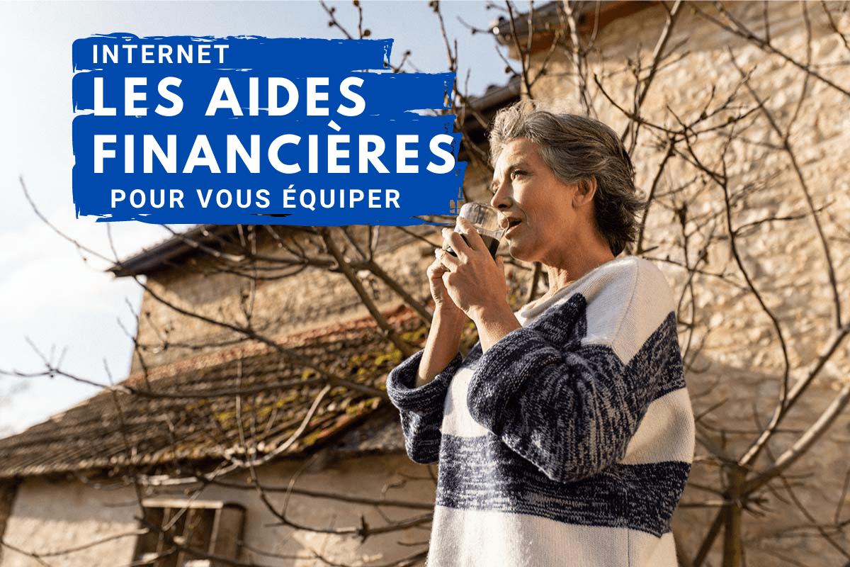 femme dans son jardin à la campagne titre : les aides financières pour vous équiper en connexion internet